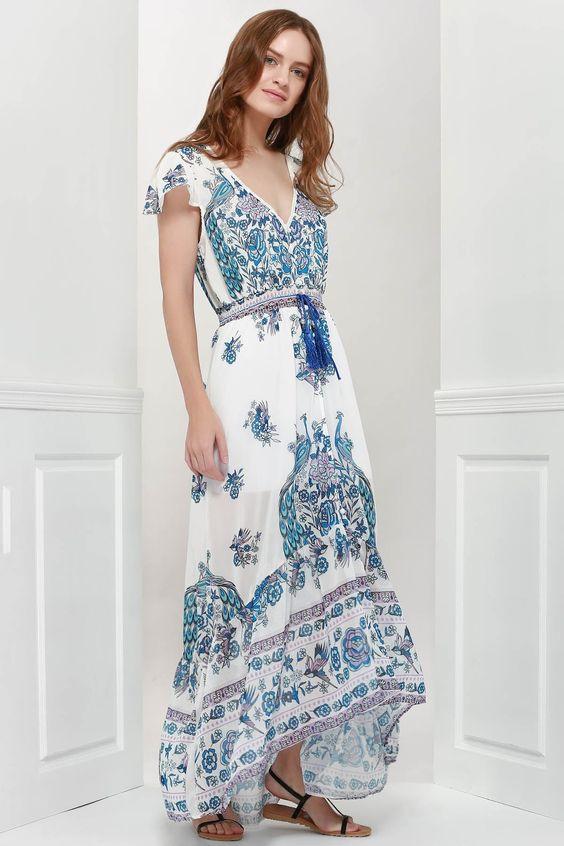 Bohemian Mergulhando Neck manga curta impresso vestido das mulheres - azul - Xl