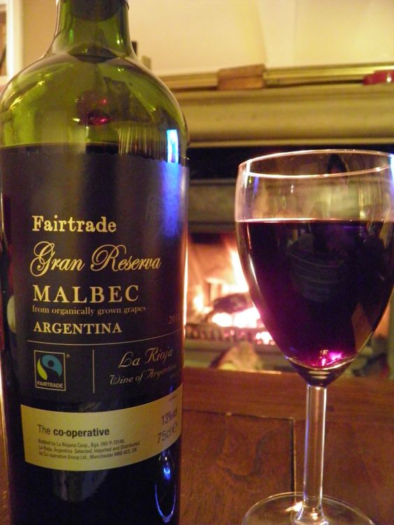 Fairtrade Malbec warming by the fire