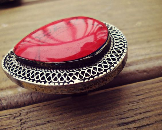 Teardrop Turkish German silver Ring Ethnic coral by ZamarutJewel