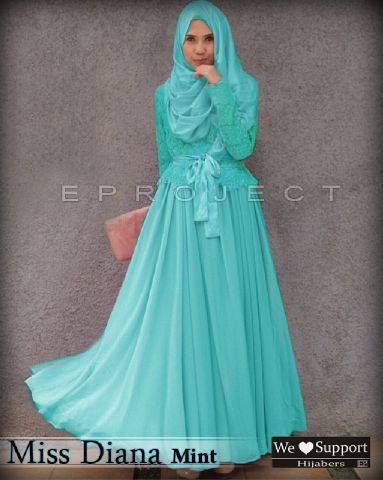 Baju Muslim Modern Syar 39 I Gamis Miss Diana Mint