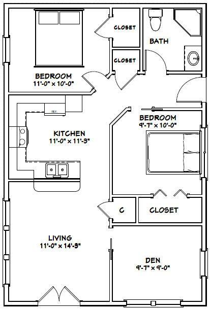 24x36 House 24x36h2 864 Sq Ft Tiny House Floor Plans Small House Plans Tiny House Plans