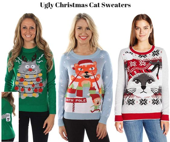 Ugly Christmas Cat Sweaters