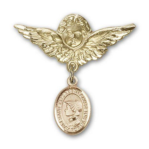 IceCarats Designer Jewelry Gold Filled St Elizabeth Ann Seton Charm Angel Badge Pin 1 18 X 1 18 >>> Want additional info? Click on the image.