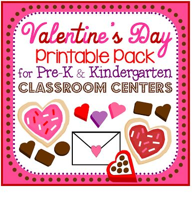 valentine 39 s day printable pack for pre k and kindergarten classroom centers activities. Black Bedroom Furniture Sets. Home Design Ideas