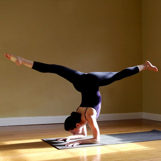 Forearm Stand Split - burn more calories with these yoga-pose variations.