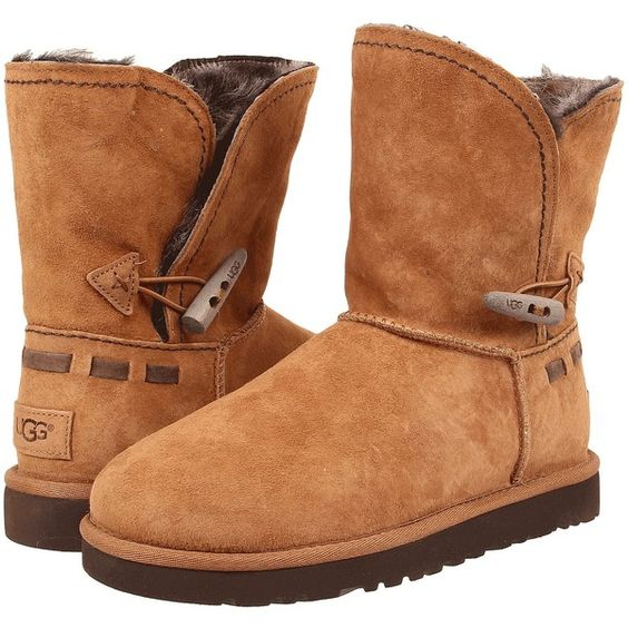 UGG Meadow Women's Boots, Brown ($150) ❤ liked on Polyvore featuring shoes, boots, ankle boots, brown, water-resistant boots, short boots, faux boots, platform boots et brown shoes