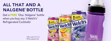 Get up to 3 free Nalgene bottles with Welch's Juice Cocktails rebate