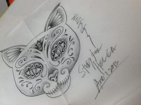 My Cat Sugar Skull Tattoo