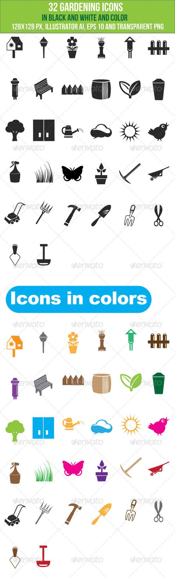 32 Gardening Icons  #GraphicRiver         These 32 gardening icons are good for web, print, info graphics and mobile applications. Icons are both in b&w and colors. You can change the color, size as per your needs. Icon size: 128×128 pixels Files: Illustrator ai, eps 10 and transparent png files are included for both colors and black and white.      Created: 23August13 GraphicsFilesIncluded: TransparentPNG #VectorEPS #AIIllustrator HighResolution: No Layered: Yes MinimumAdobeCSVersion: CS…