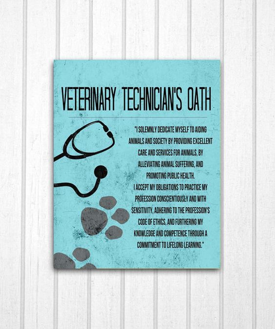 Veterinary Technician's Oath Print by MayaGraceDesigns on Etsy, $12.99