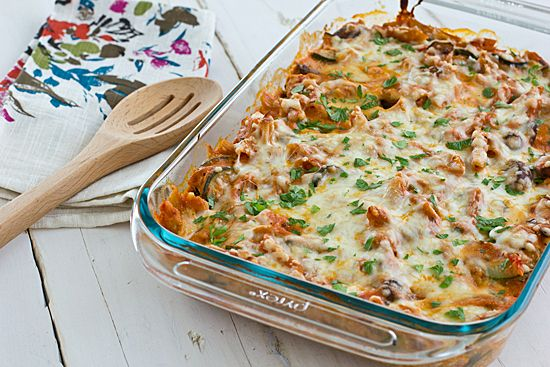 A healthier version of baked ziti--it's loaded with veggies so you can get away with using less pasta!