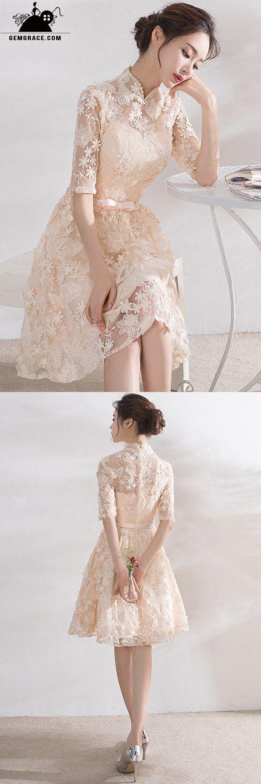 Simple Short Champagne Lace Wedding Party Dress With Collar Short Wedding Dress Simple Wedding Dress Short Dresses [ 1600 x 534 Pixel ]