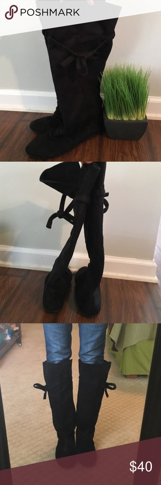 Suade knee high boots Black suede knee high boots from Victoria's Secret. Cute bow tie on the top :) look and are practically brand new . CHEAPER ON Ⓜ️ Rampage Shoes