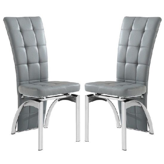 Ravenna Dining Chair In Grey Faux Leather In A Pair In 2020