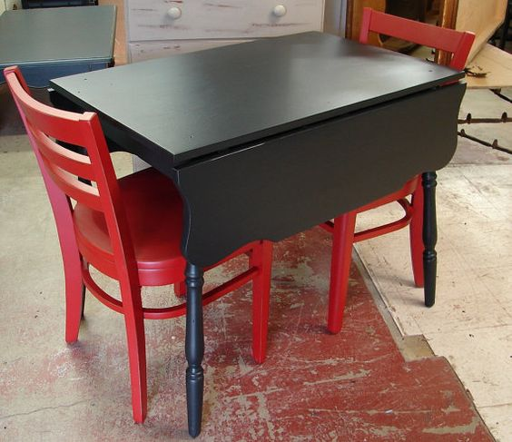 Small Trestle Black Painted Drop Leaf Kitchen Table For The Home Pinterest Nice Colors