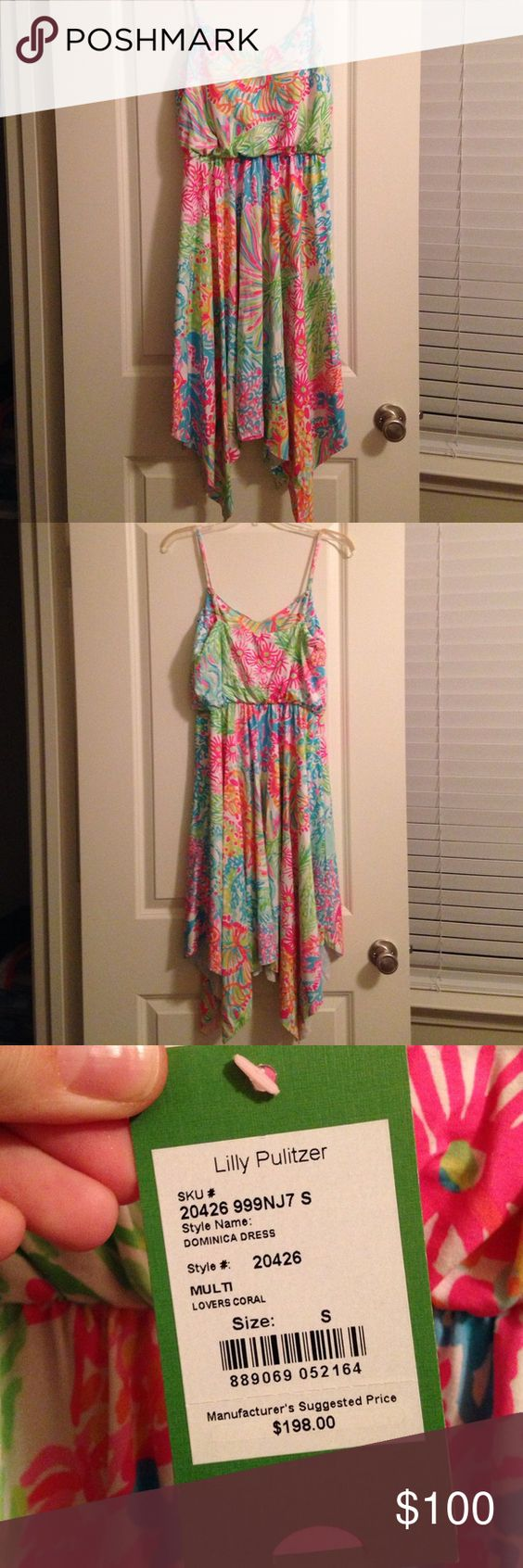 Lilly Pulitzer Dominica Dress in Lover's Coral Beautiful strappy dress with handkerchief-style hem. Lilly Pulitzer Summer 2016 collection. Multi Lover's Coral pattern. Size small. NWT, never been worn! Originally $198! Lilly Pulitzer Dresses