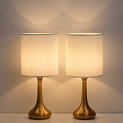 Amazon Com Table Nightstand Lamp Set Of 2 Bedside Modern Desk Lamp With White Fabric Linen Shade For Bedroom Living Room Of Modern Desk Lamp Nightstand Lamp