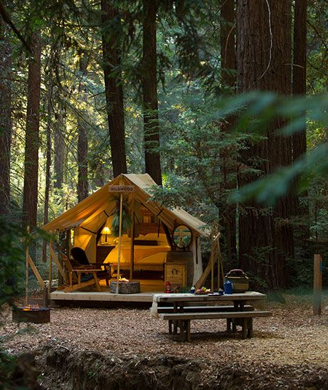 Ventana Big Sur Glamping Tents  These are luxury glamping tents.  Spend your next vacation under the stars in style and comfort at these resorts centered on zero-waste eco-luxury travel and getting closer to nature.  #glamping #glampingpictures #luxurytravel
