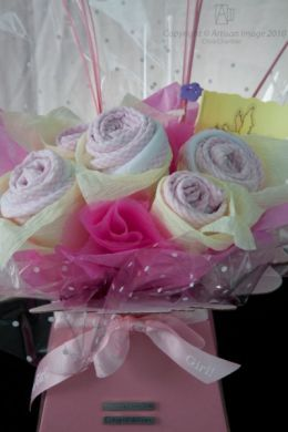 baby gift bouquet - bib/burpcloth/washcloth/onesies (6 roses) £36