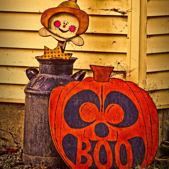 Halloween Fun - #SALE 20% off #Art #Prints, #Tapestries, and #Posters.  Use code PRETTYWALLS  Halloween Fun creation.  I took a photo of a yard decoration someone in our small town had set up, and added some textures. / Halloween, fun, pumpkins, pumpkin, scarecrow, milk-can, decor, Fall, autumn • Buy this artwork on apparel, stickers, phone cases, and more.
