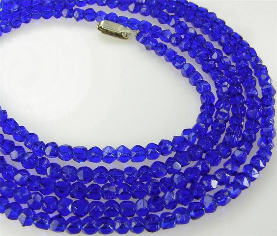 """Antique Deep Cobalt Blue English Cut Czech Glass Beads Necklace Strand 52"""" Long #CzechGlass #StrandString"""