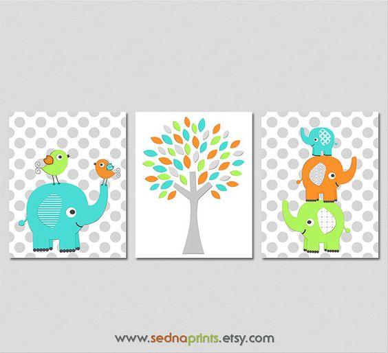 Colorful baby boy elephant Nursery Art Print Set , Baby Room Decor, birds, love, tree, aqua, green, orange, grey - UNFRAMED