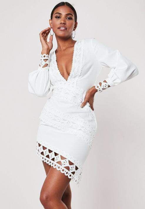 Missguided White Crochet Lace Plunge Mini Dress Mini Dress Tight Mini Dress Plunge Mini Dress