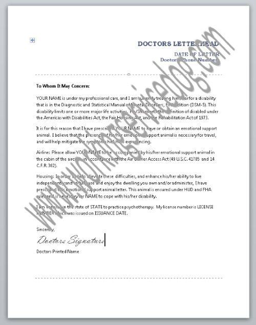 Emotional Support Animal Doctors Letter Sample Doctors Letter