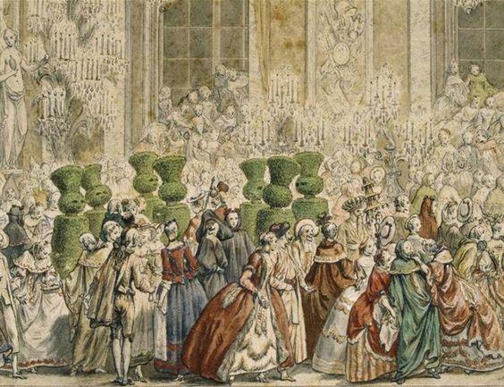 Bal costumé donné à Versailles le 25 février 1745 pour le mariage du dauphin Louis avec Marie-Thérèse d'Espagne, dit « bal des Ifs »par Charles Nicolas Cochin, Château de Versailles et de Trianon