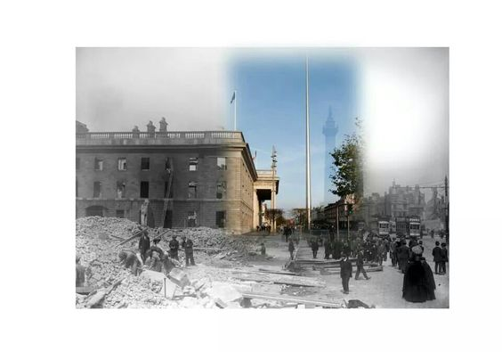 GPO in 1916 and present day.