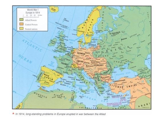 Map of Europe in 1914 showing the AlliedCentral and Neutral