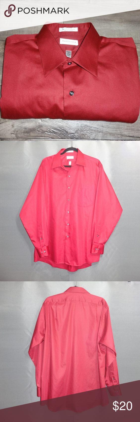 Van Heusen Men S Dress Shirt Burgundy Red Size 17 Van Heusen Men S Dress Shirt Wrinkle Free Lux Sateen Brand Van H Mens Shirt Dress Clothes Design Red Fashion