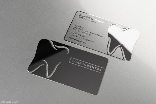 Dental Mirror Finish Stainless Steel Business Card Template Design Fraser Dental Dental Business Cards Dental Business Dental Logo Design