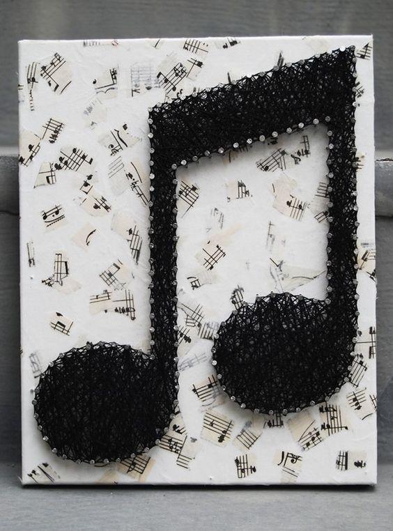 Deko leinwandbilder schlafzimmer : String art : String art : Pinterest : Musik-Noten, Nu00e4gel ...