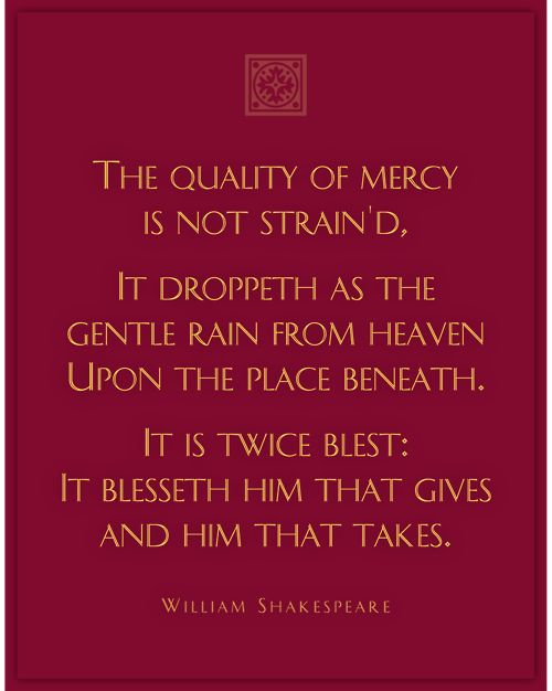 an analysis of the idea of mercy in the merchant of venice a play by william shakespeare Merchant of venice - william shakespeare  in comparison to the other main characters in the merchant of venice,  analysis would be that there is a possibility.