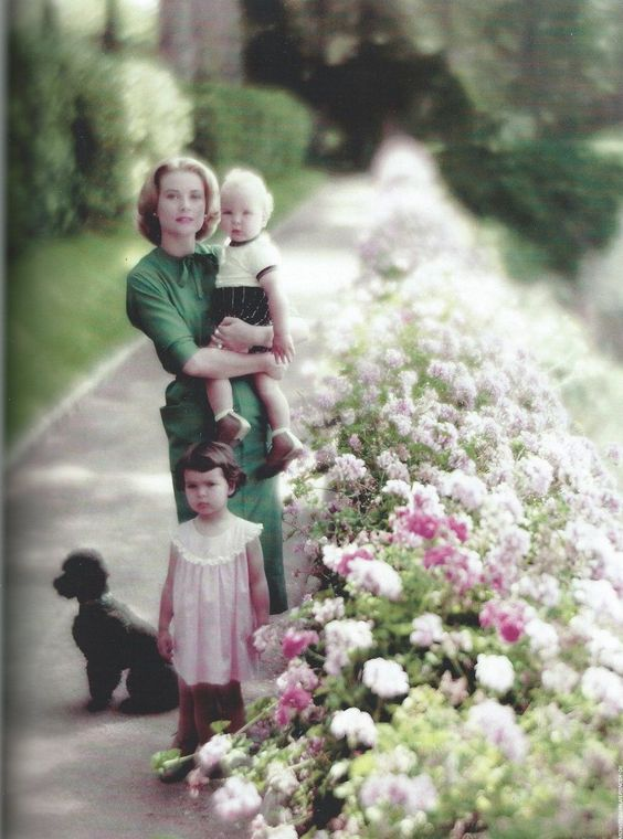 theroyalsandi: Princess Grace with her children Princess Caroline and Prince Albert and her poodle Oliver