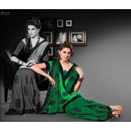 Shaded Green color Shimmer saree