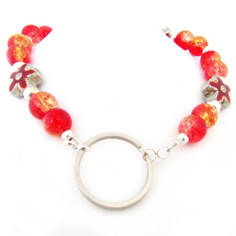 fire crackle beaded lanyard