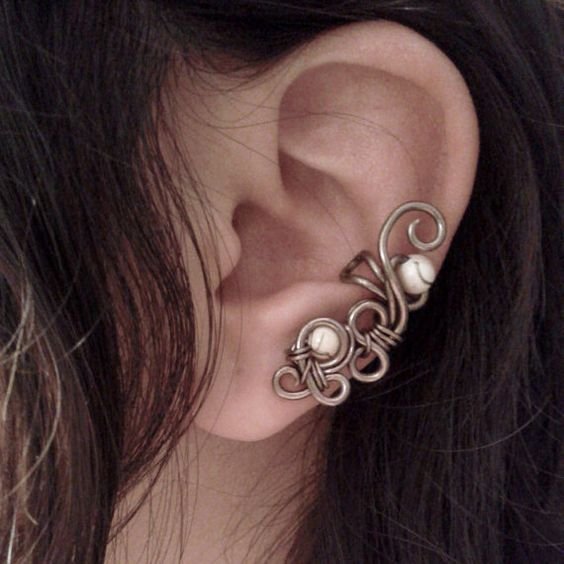 Ivory Bubbles Ear Cuff non piercing swirl minimalist by Jynxsbox