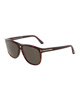 Lennon Tortoise Acetate Square Sunglasses by Tom Ford at Neiman Marcus Last Call.