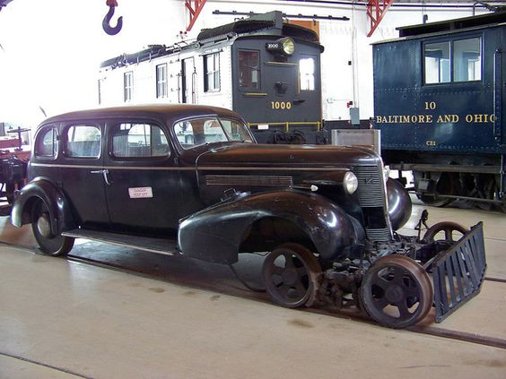 E0132. This 1937 Buick N0. 101 was converted to a Maryland and Pennsylvania (Ma & Pa) Railroad inspection car in 1942. It was one of the first equipped with a radio. The radio was installed to test the practicality of radio communication between locomotives and stations. Rebuilt on flanged wheels, rail-mobiles carried management officials on maintenance for inspection trips.