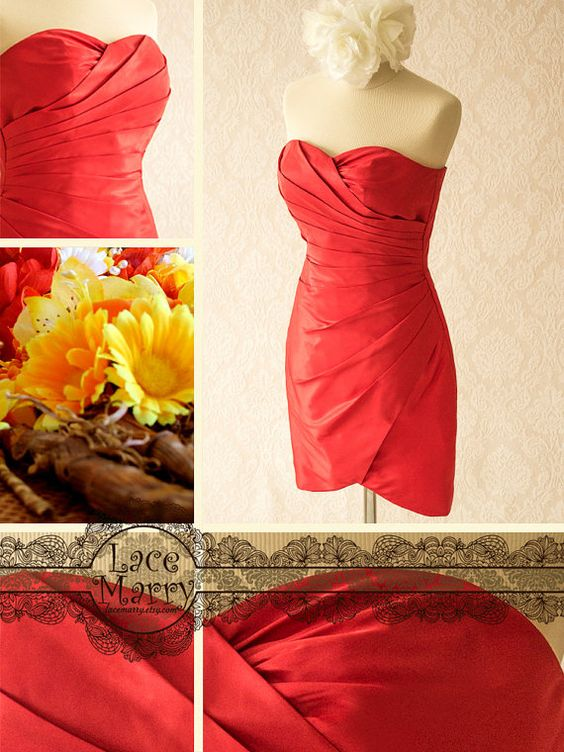Red Bridesmaid Dress in Strapless Design Features by LaceMarry, $84.00