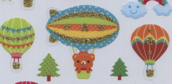 Teddy Bears, Hot Air Balloons, and Rainbows, Oh My! These glitter stickers are so cute! $2.99,  Hot Air Balloon Stickers