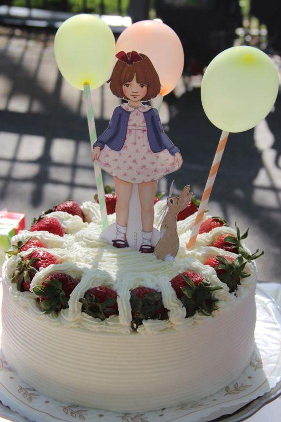 EASY! Balloons & striped paper straws as cake toppers! Vintage Birthday Parade Party via Karas Party Ideas | KarasPartyIdeas.com #vintage #birthday #parade #party #ideas