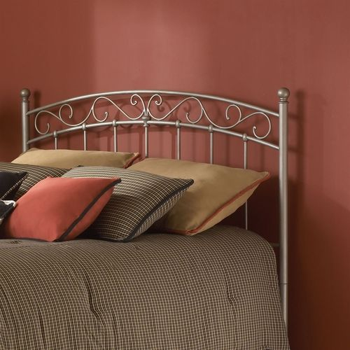 Full size Arched Metal Headboard in New Brown Finish