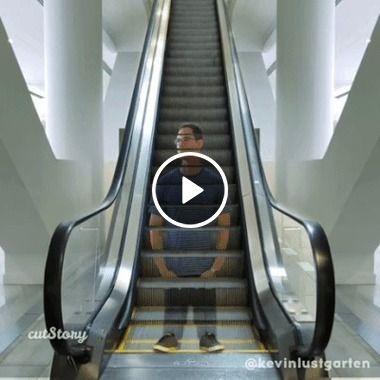 Homem descendo a escada rolante, mas de repente ele é a escada