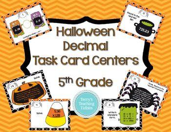 Halloween Decimal Task Card Centers - 5th Grade
