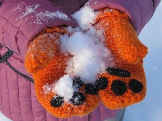 Winter mittens fancy mittens fox paws mittens warm mittens women's mittens orange mittens  (24.50 USD) by HotSiberianIce
