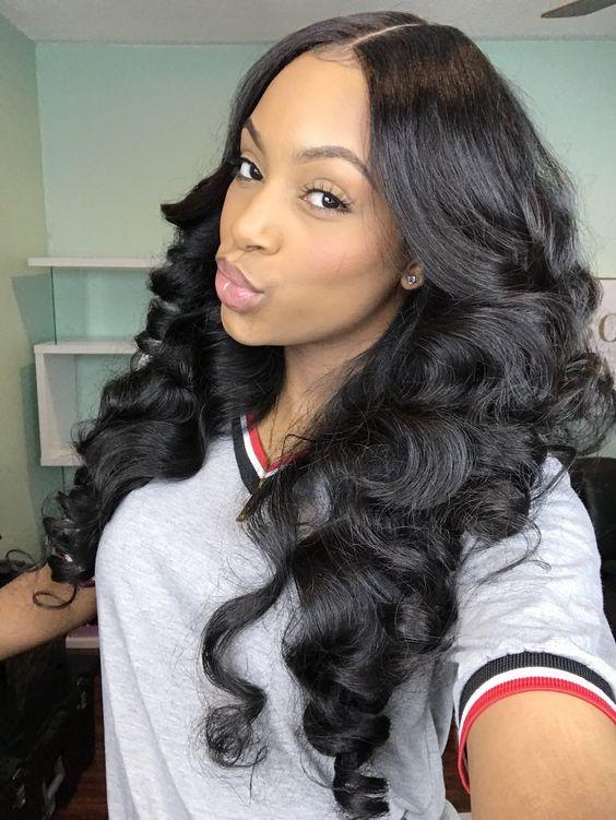 Black Women Sew In : black, women, Loose, Closure, Styles, Black, Women,, Unprocessed, Virgin, Human, Weave, Bundles,, Styles,, Hairstyles,, Natural