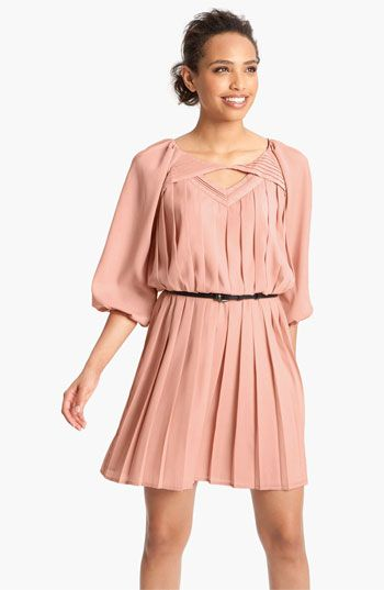 Jessica Simpson Pleated Crêpe de Chine Blouson Dress | #Nordstrom #falltrends